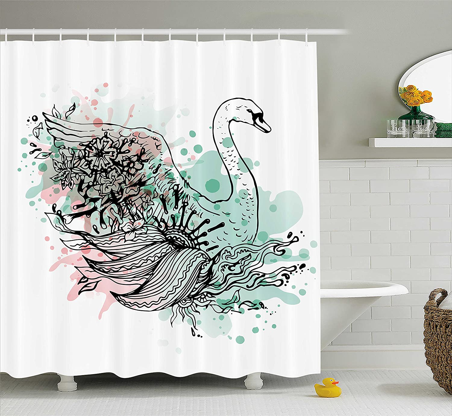 Ambesonne Animal Shower Curtain Hand Sketch Swan Bird Floral Details And Color Splashes Watercolors Fabric Bathroom Decor Set With Hooks 70 Inches