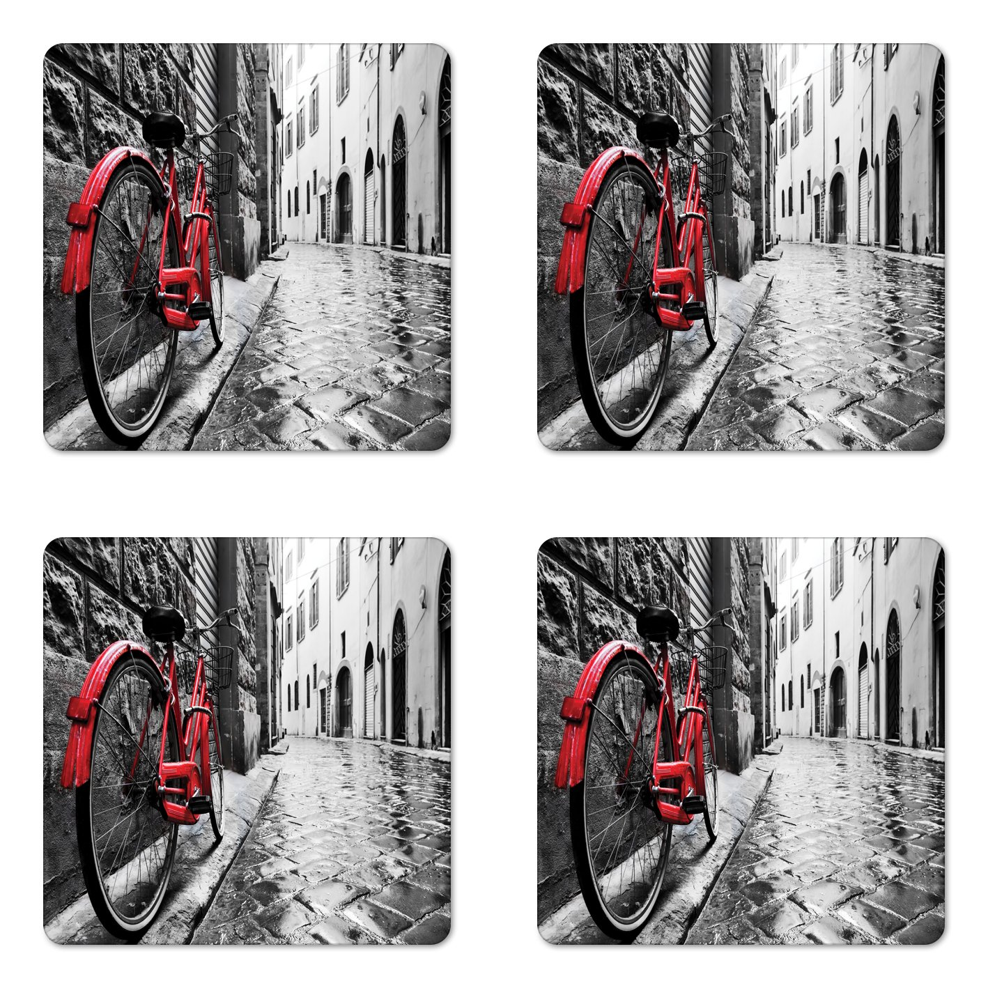 Lunarable Bicycle Coaster Set of Four, Classic Bike on Cobblestone Street in Italian Town Leisure Artistic Photo, Square Hardboard Gloss Coasters for Drinks, Red Black and White