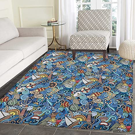 Amazon Com Nautical Rugs For Bedroom Abstract Pattern Sea Shells
