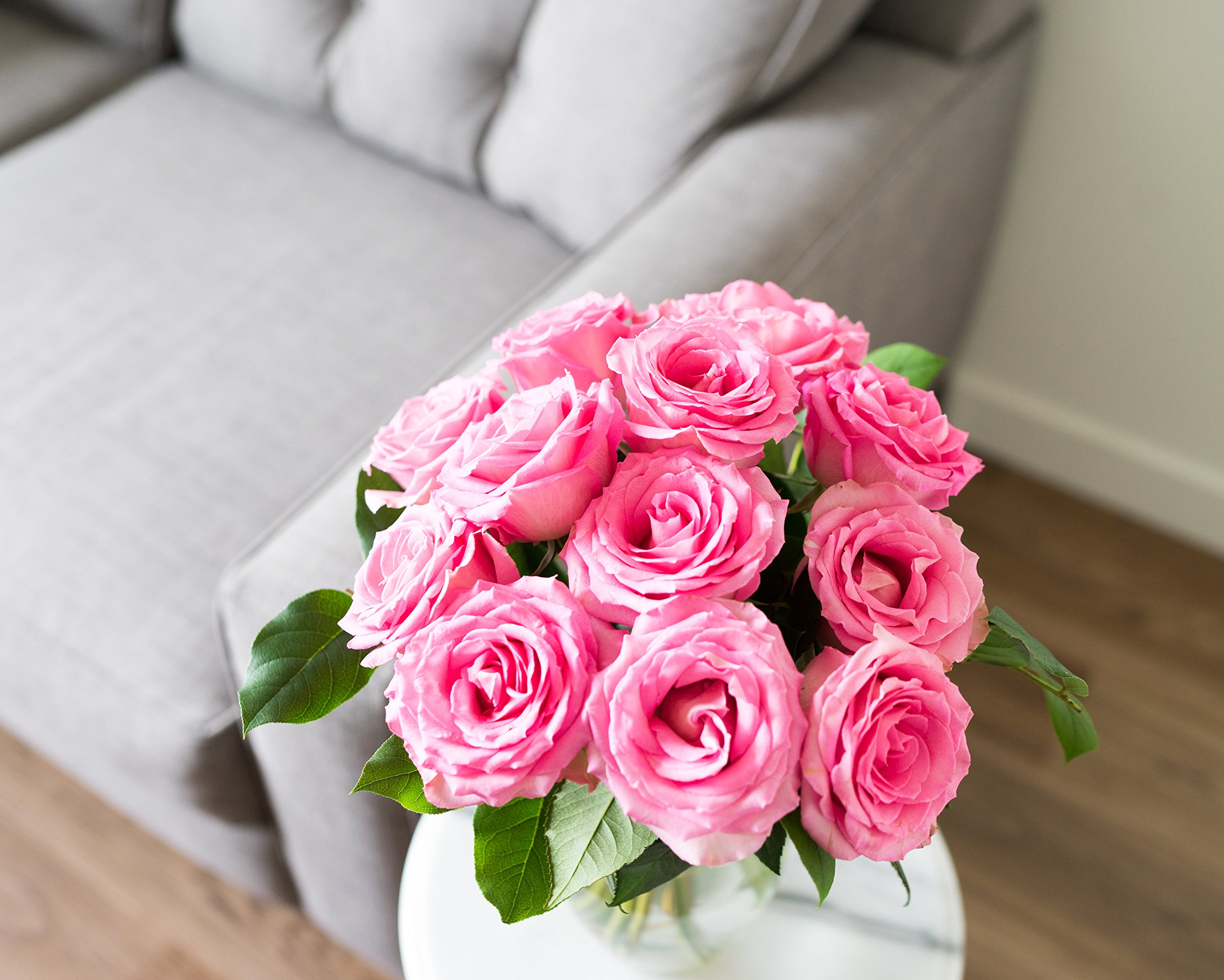 Flowers - One Dozen Light Pink Roses (Free Vase Included) by From You Flowers (Image #4)