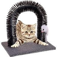 MAZZINGA stile italiano Kratzbaum Fell Enthaarung Massage Spielzeug Maus Katzenspielzeug Katze Spielbaum und Enthaarungsbogen Kratzteppich für Katzen - Massagebogen mit Spielzeug Mäuschen