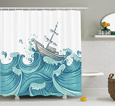 Nautical Decor Shower Curtain Set By Ambesonne Illustration Of A Ship Being Tossed Giant