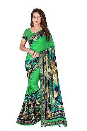 5e72782faa8 Albella Fashion Women s Georgette Printed Tassels Lace Border Saree Design  For Women With Blouse Piece (