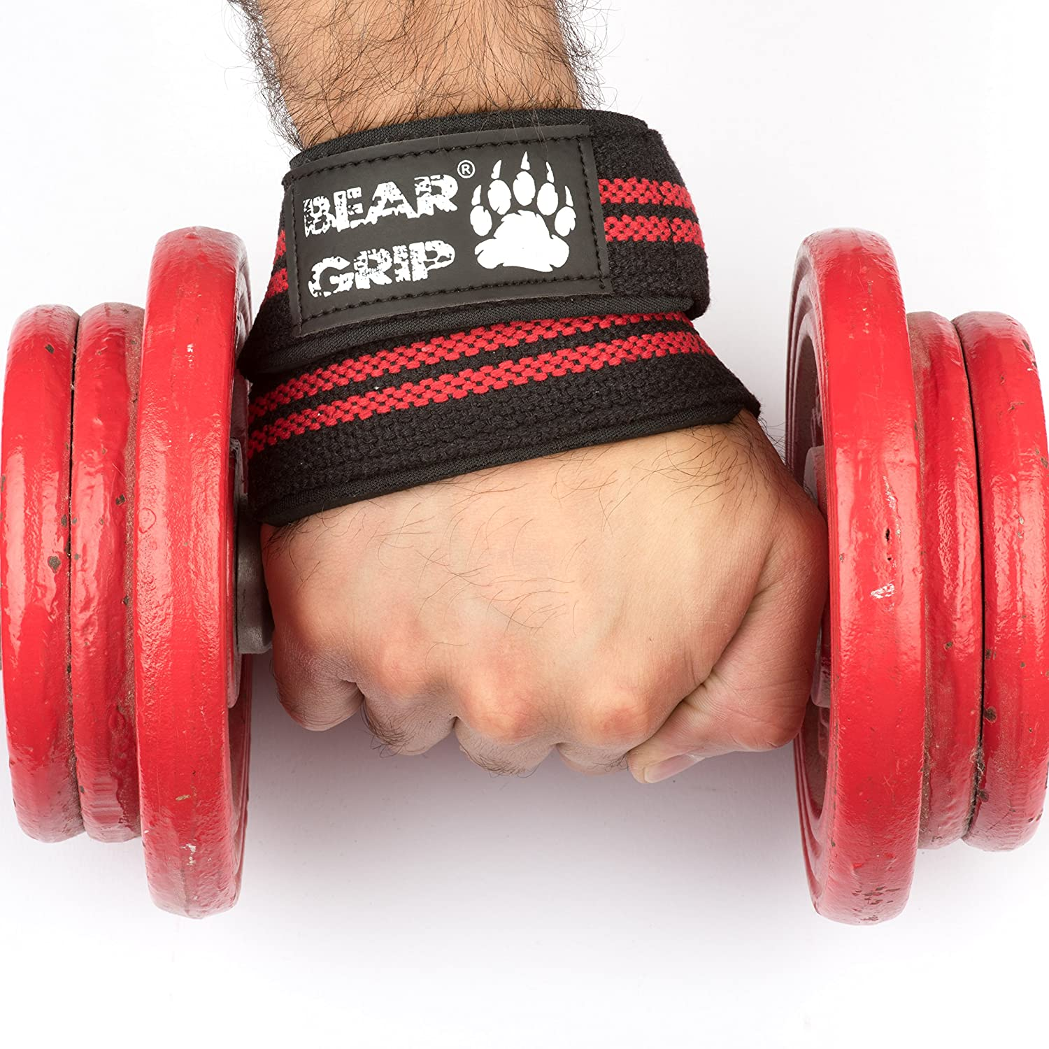 Bear Grip Premium Figure 8 Weight Lifting Straps Sold In Pairs Wrist Red Sports Outdoors