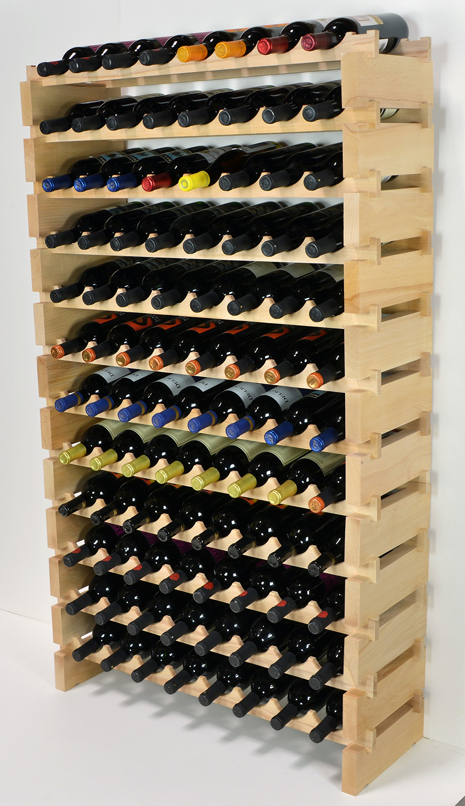 Modular Wine Rack Pine Wood 32-96 Bottle Capacity Storage 8 Bottles Across up to 12 Rows Stackable Newest Improved Model (96 Bottles - 12 Rows) by sfDisplay.com,LLC. (Image #2)