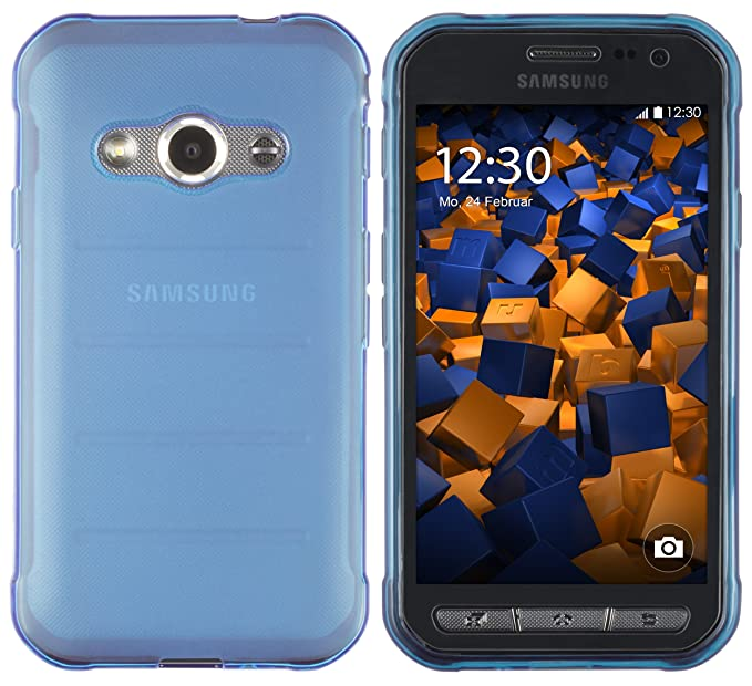 mumbi Schutzhülle Samsung Galaxy Xcover 3 Hülle transparent blau
