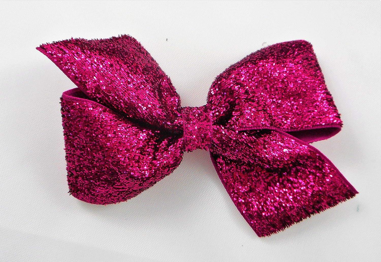 "Girls handmade pink /& black leopard sparkle glitter 4/"" bow hair clip"