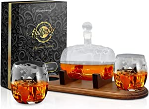 NutriChef Glass Glasses-750ml Barrel Whiskey Carafe Alcohol Set, Liquor Lead Free Decanter w/Stopper & Base, Large, Brown