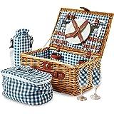 Andrew James Premium 2 Person Traditional Wicker Picnic Basket Hamper, Includes Cooler Bag And Wine Cooler Bag