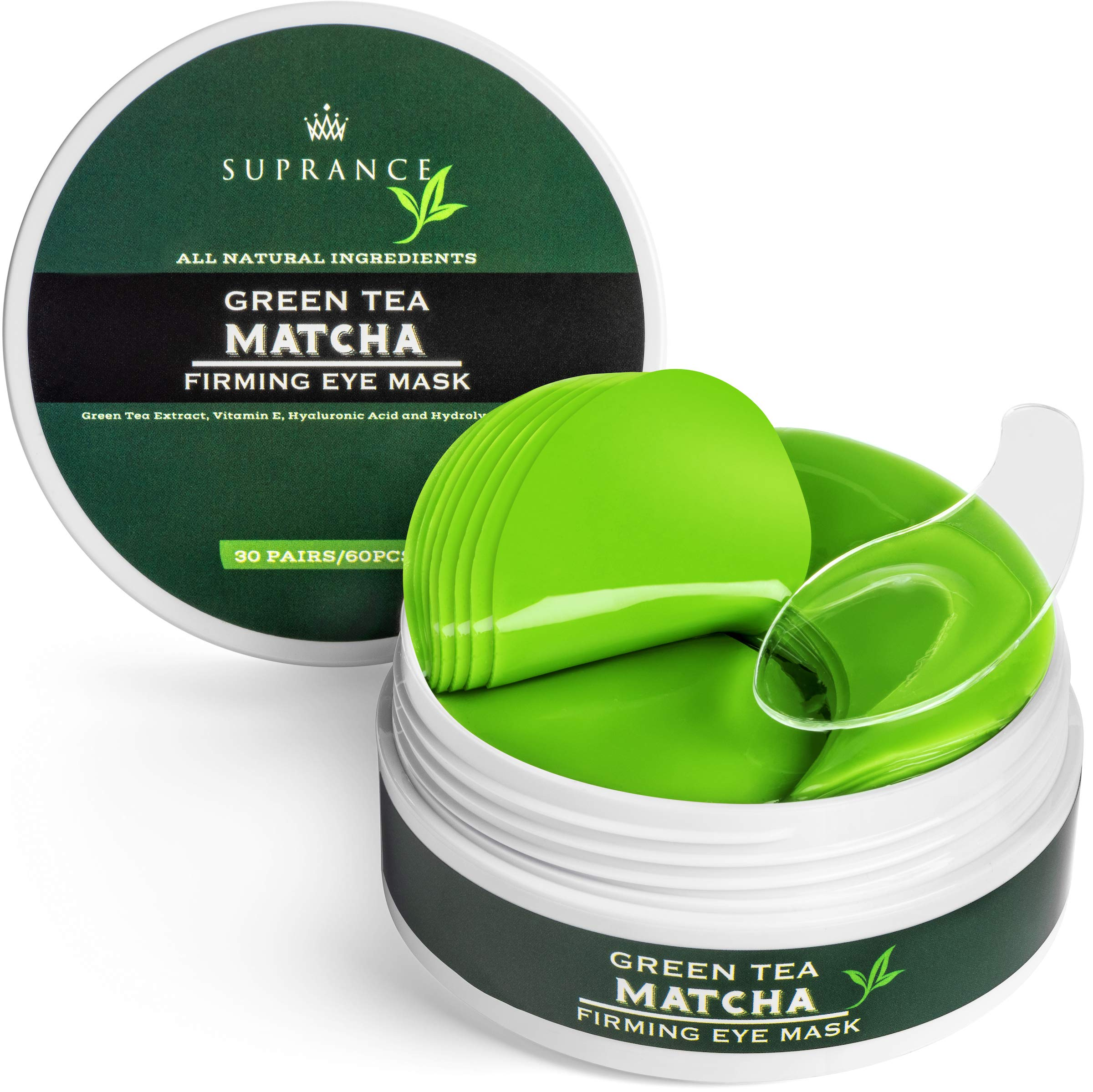 Green Tea Matcha Eye Mask by Suprance - Under Eye Patches Treatment for Dark Circles, Eye Bags, Puffiness - Anti-Wrinkle With Hyaluronic Acid and Collagen - 30 Pairs/60 Pcs. by Suprance