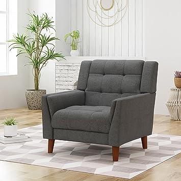 Enjoyable Christopher Knight Home 305540 Evelyn Mid Century Modern Fabric Arm Chair Dark Gray Walnut Ibusinesslaw Wood Chair Design Ideas Ibusinesslaworg