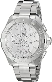 TAG Heuer Mens Aquaracer Swiss Quartz Stainless Steel Dress Watch, Color:Silver