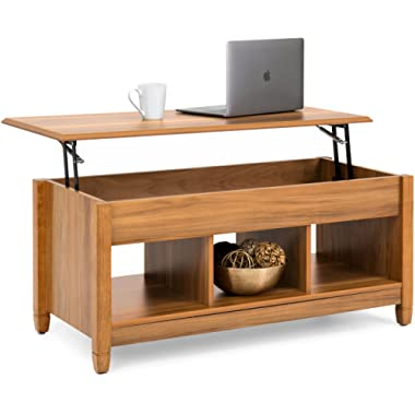 Best Choice Products Multifunctional Modern Coffee Table Desk Dining Furniture for Home, Living Room, Décor, Display w/Hidden Storage and Lift Tabletop - Brown