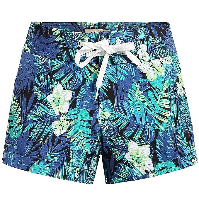 b50ba2945c SSLR Women's Tropical Quick Dry Swim Trunks Hawaiian Board Shorts