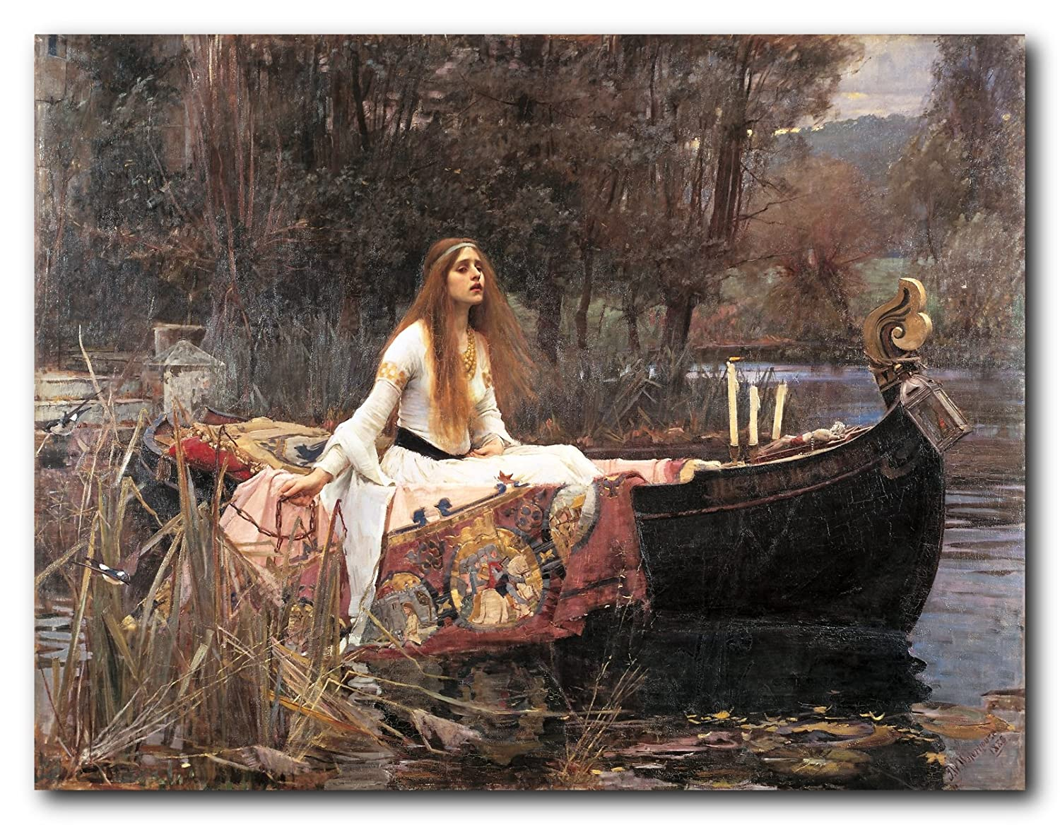Wall Decor The Lady of Shalott John Waterhouse Boat Picture Art Print Poster (16x20) Impact Posters