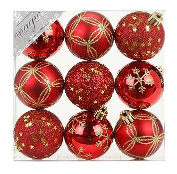 9 Stk. PVC Christbaumkugeln 6cm ( rot) // Ornament Dekor Kunststoff bruchfest Dekokugeln Weihnachtskugeln Baumkugeln Baumschm