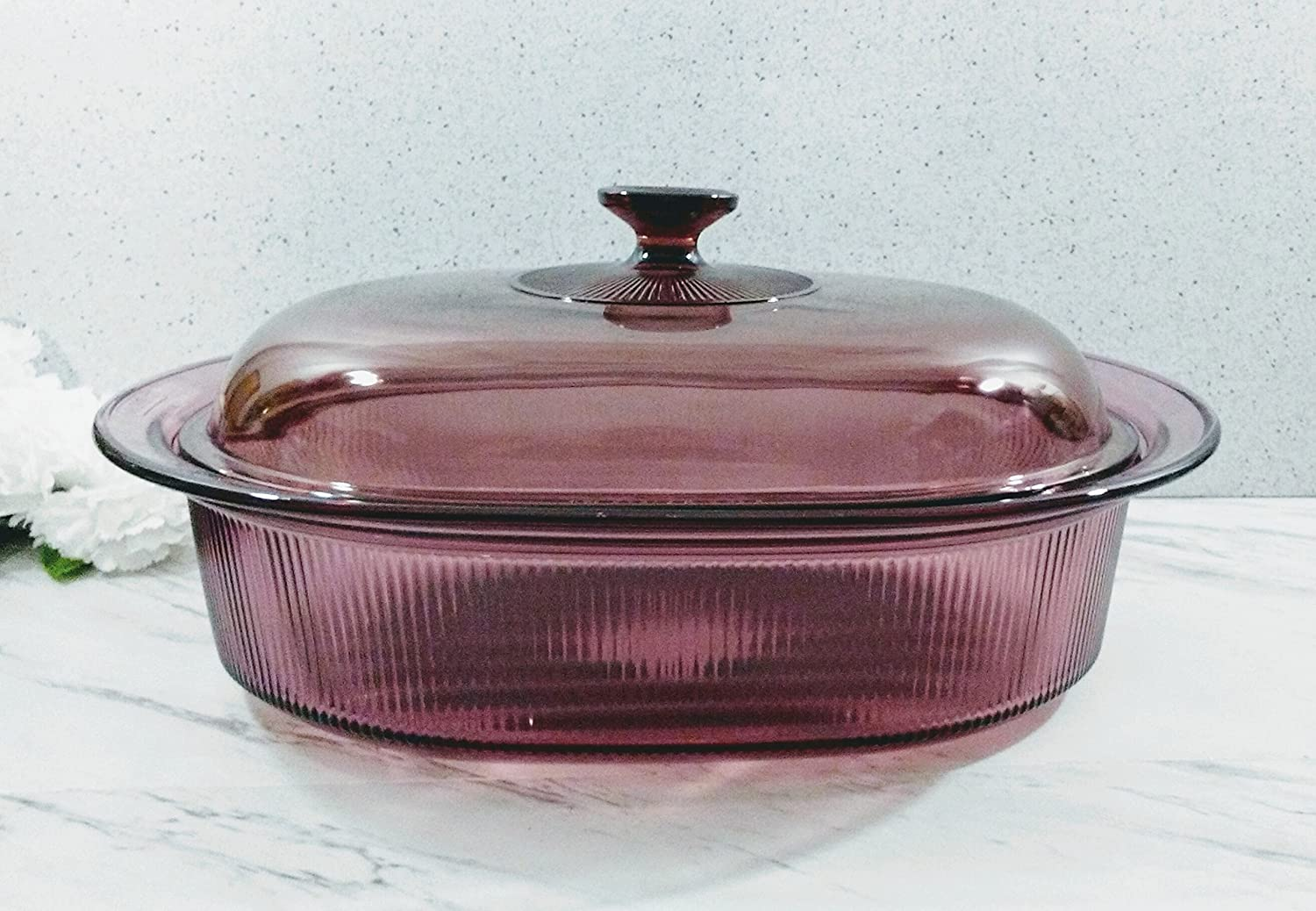 Pyrex Corning Cranberry 4 Quart Qt Set Ribbed Dutch Oven Roaster Pan Dish With Glass Lid
