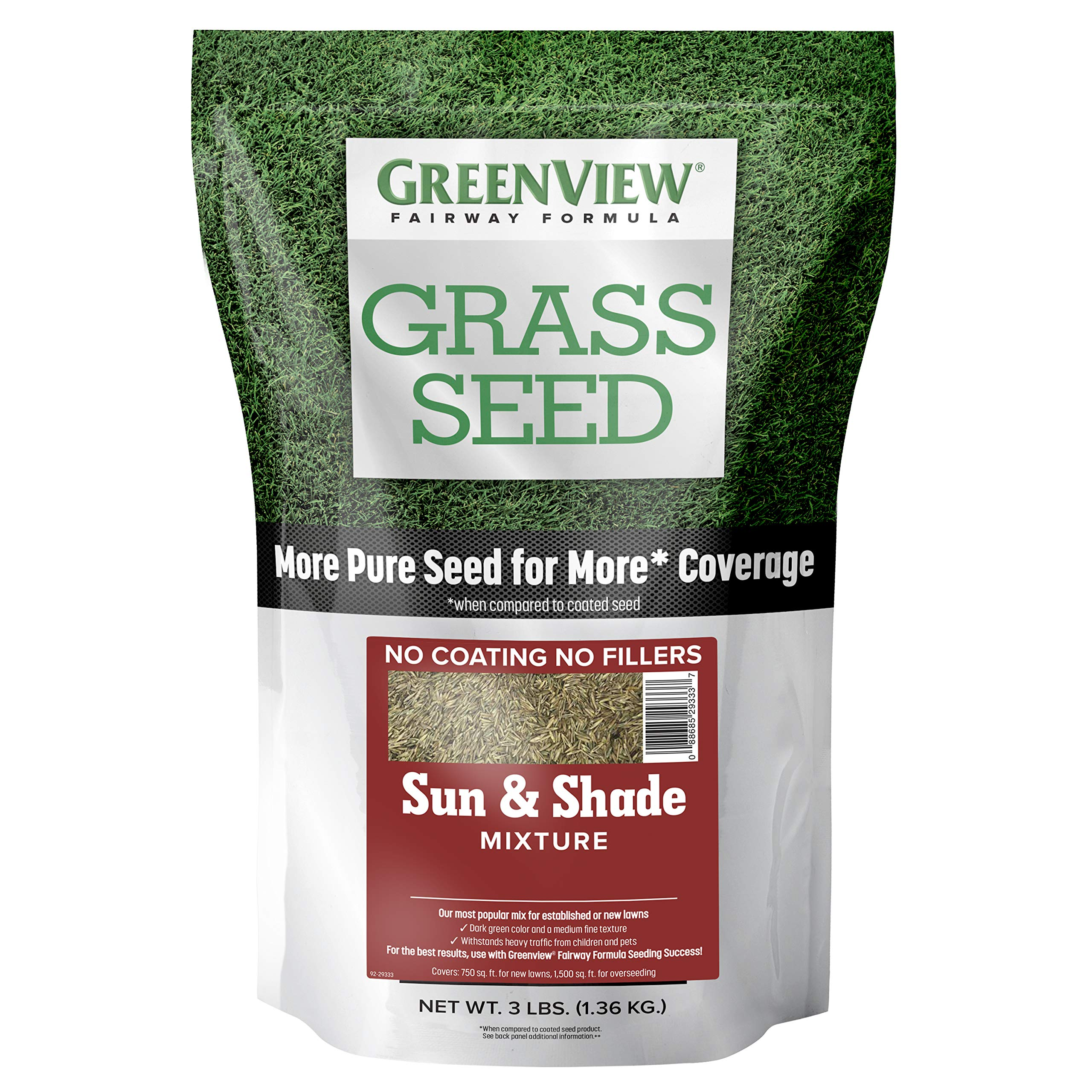 GreenView 2829336 Grass Seed, 3 lb, Sun & Shade