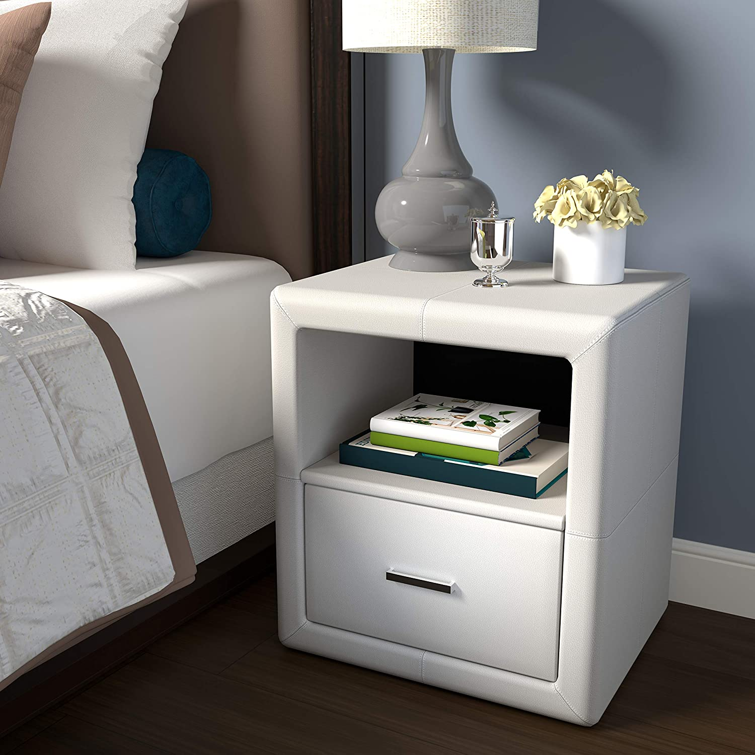 Boyd Sleep Contemporary Bedroom Furniture: Lombardi Upholstered Nightstand with Single Drawer and Open Shelf, Faux Leather, White