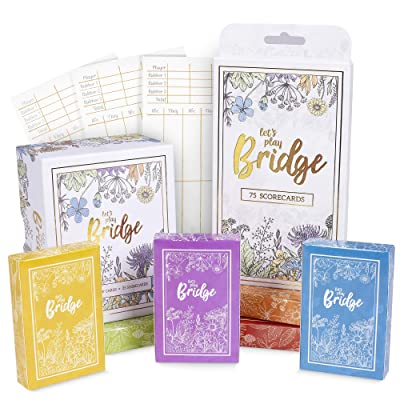 Let\'s Play Bridge | Complete Classic Card Game & Scorecard Bundle Set | 6 Unique Colorful Decks | Includes 100 Scorecards for Couples Game Night and Competitive Family Fun: Toys & Games [5Bkhe1802352]