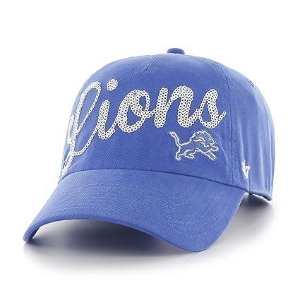 47 NFL Detroit Lions Women s Sparkle Script Sequin Clean Up Adjustable Hat 3bb131f91e