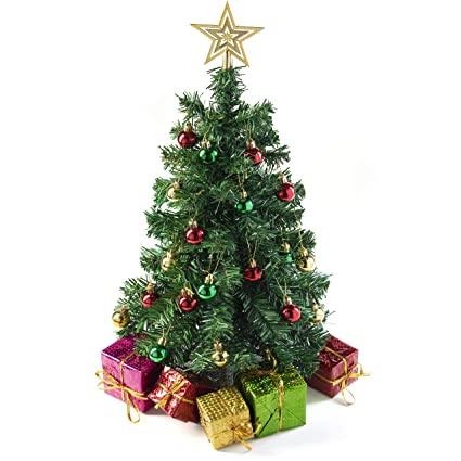 Alberi Di Natale Decorati Foto.Prextex Mini Albero Di Natale Da Tavolo Fai Da Te 58 Cm Con Pacchi Regalo Decorati Ornamenti Appesi E Puntale A Stella Per Le Decorazioni Di Natale