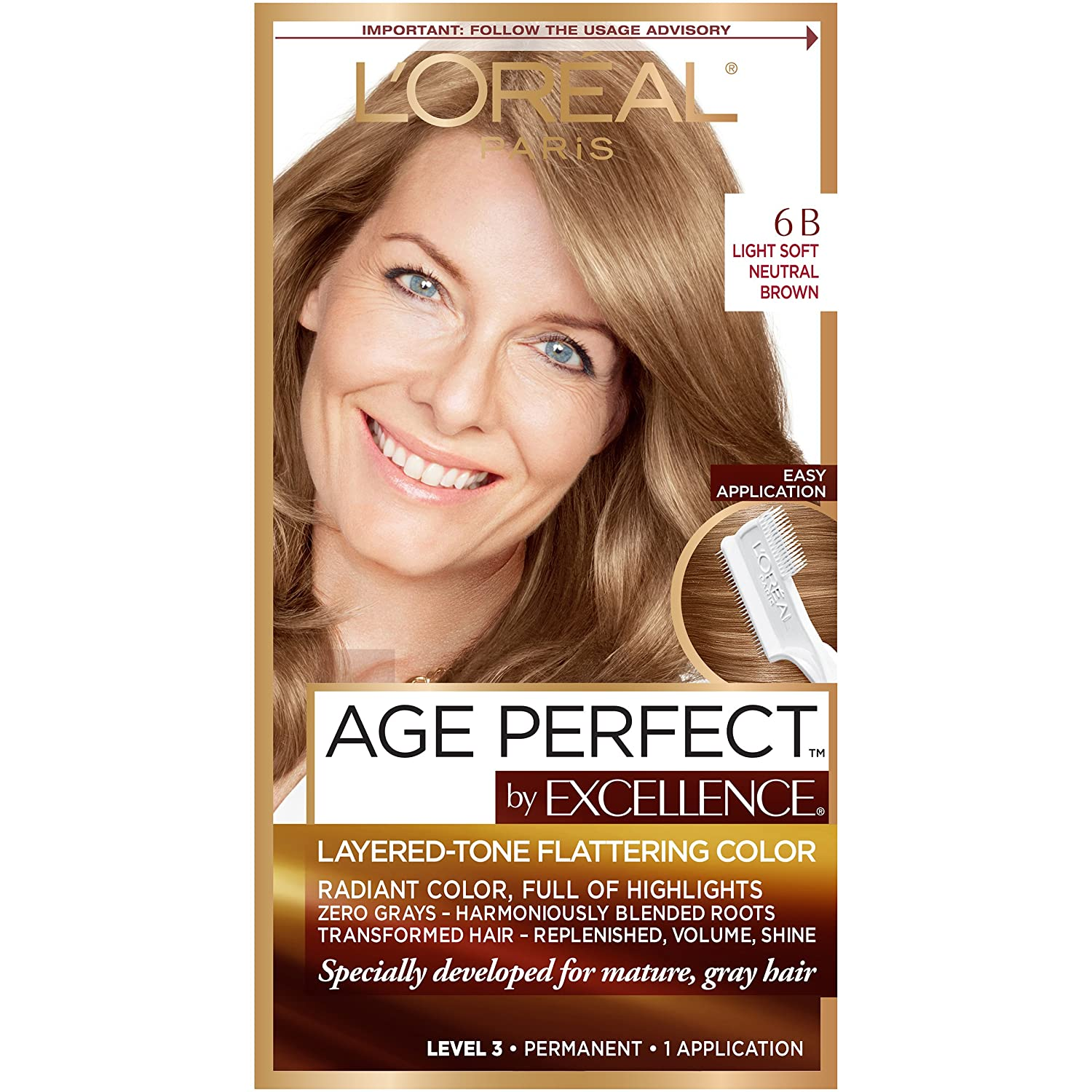 L'Oreal Paris Excellence Age Perfect Layered Tone Flattering Color, 6B Light Soft Neutral Brown (Packaging May Vary)