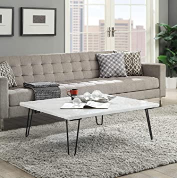 Amazon Com Benjara White And Black Marble Top Coffee Table With