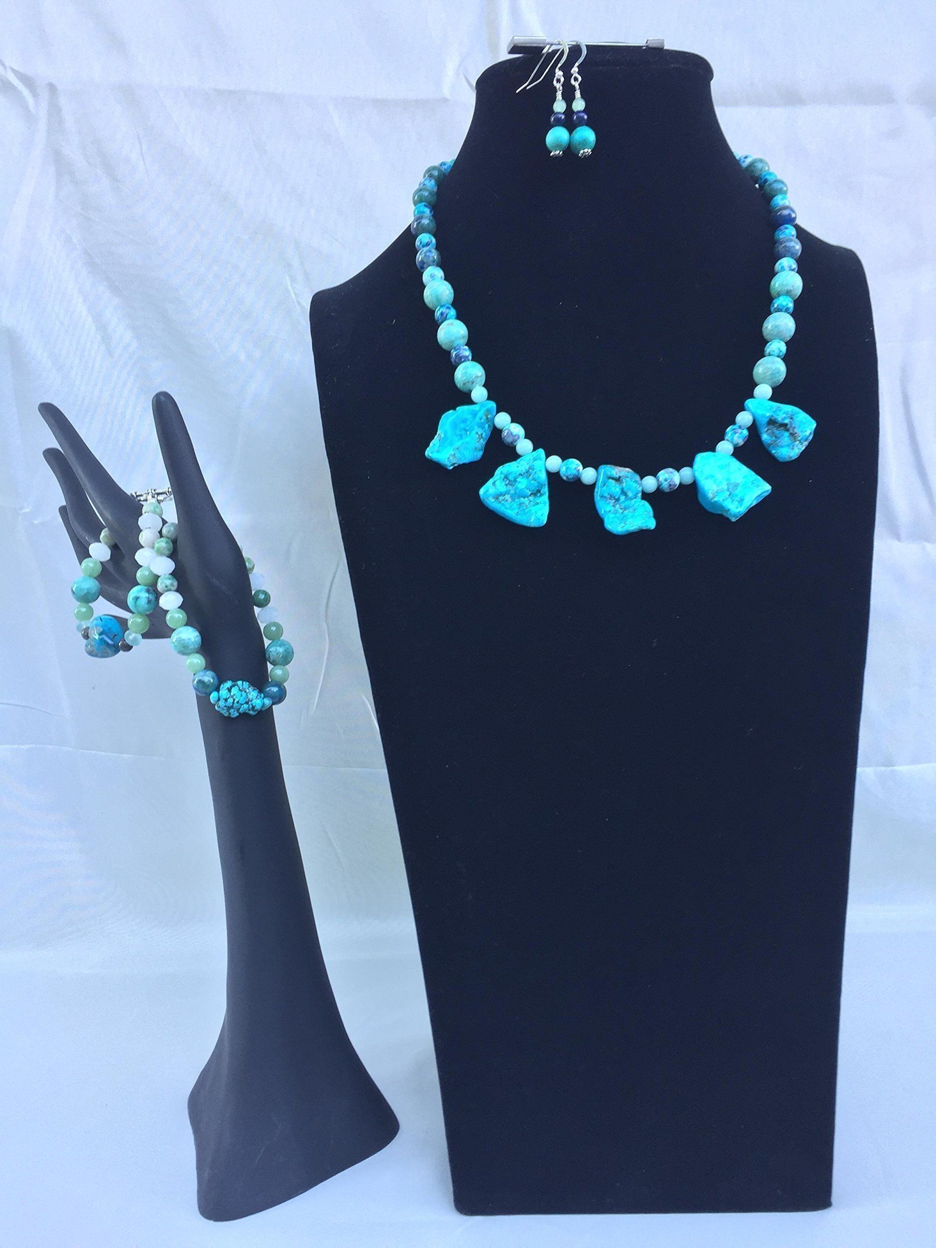 Fantastic handmade Tourquoise jewelry set with a necklace, two bracelets and matching dangle earrings. Amazing Turquiose and mixed gemstones One of a kind