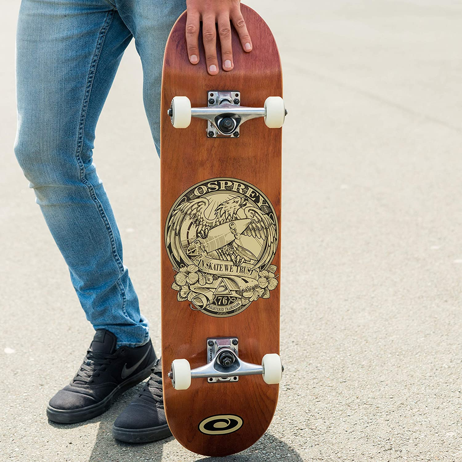 220lbs Max User Weight Multiple Designs 31 Inch Double Kick Concave Adult Skateboard with 7 Layer Canadian Maple Deck Osprey Professional Skateboards for Beginners