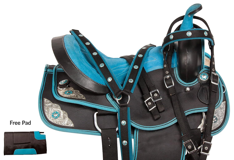 ライト重量四半期ブルーWestern Pleasure Trail ShowバレルHorse Saddle Texas Star Cordura Tack Headstall Reins Breast襟 18  B06ZZZ53NY