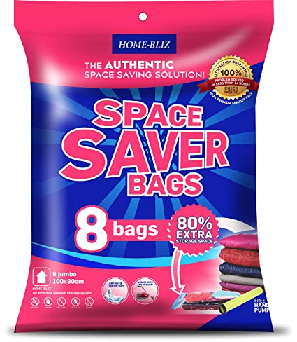 Bolsas de almacenaje al vacío Premium (8pack 100 x 80CM)  Bolsas Extra Gruesas que permiten ahorrar Espacio * 8 bolsas Jumbo + Bomba Manual GRATIS ...