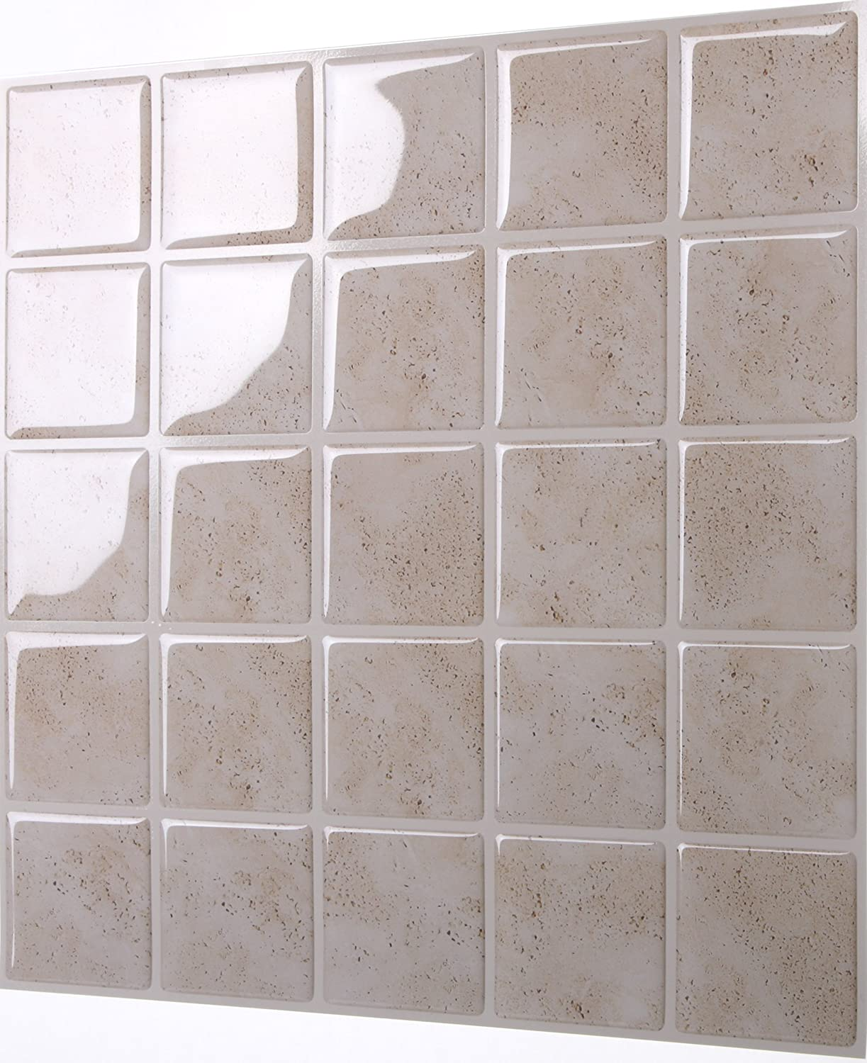 Tic Tac Tiles Anti-Mold Peel and Stick Wall Tile in Marmo Travertine 10 Tiles