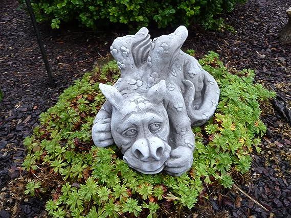 Figura de piedra figuras de dragón Fantasía Jardín Decoración Jardín de piedra figuras Dragón: Amazon.es: Jardín