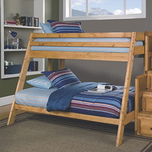 Coaster Home Furnishings Wrangle Hill Built-in Ladder Amber Wash Twin/Full BUNK Bed