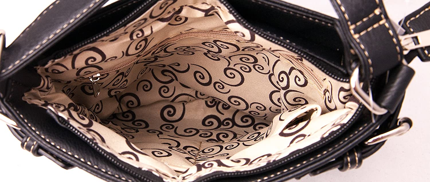HW Collection Western Purse Cross Wings Stitching Concealed Carry Crossbody Handbag Country Shoulder Bag