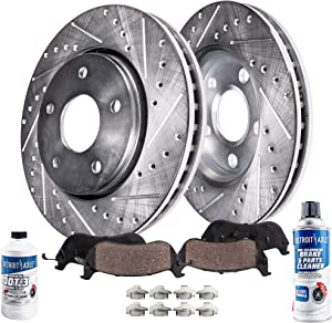 Detroit Axle - Pair (2) Front Drilled and Slotted Disc Brake Kit Rotors w/Ceramic Pads w/Hardware & Brake Kit Cleaner & Fluid for 2013 Nissan Altima Sedan - [2014-2017 Nissan Altima]
