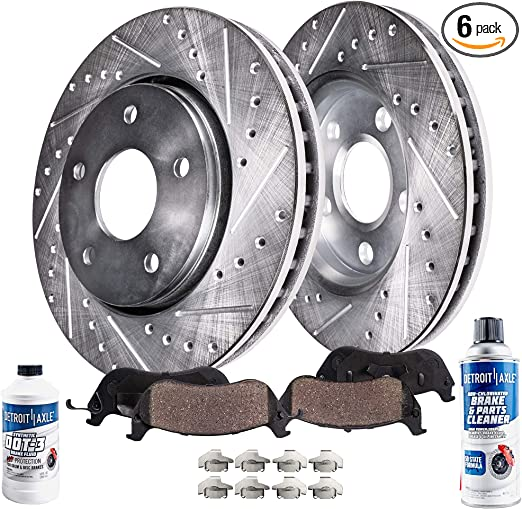 FRONT Drilled and Slotted Brake Rotors 280mm Performance Grade for Jeep Cherokee Wrangler Detroit Axle 11.02
