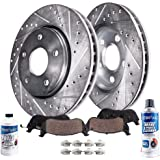 Detroit Axle Replacement for Drilled & Slotted 302mm Front Brake Kit Rotors & Brake Pads w/Clips Hardware & Brake…