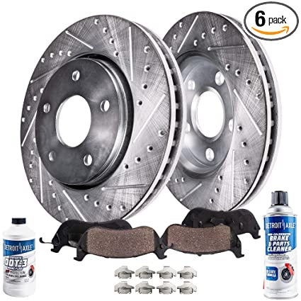Detroit Axle - Drilled & Slotted FRONT Brake Rotor Performance GRADE Set &  Brake Pads w/Clips Hardware Kit & BRAKE CLEANER & FLUID INCLUDED for 2000