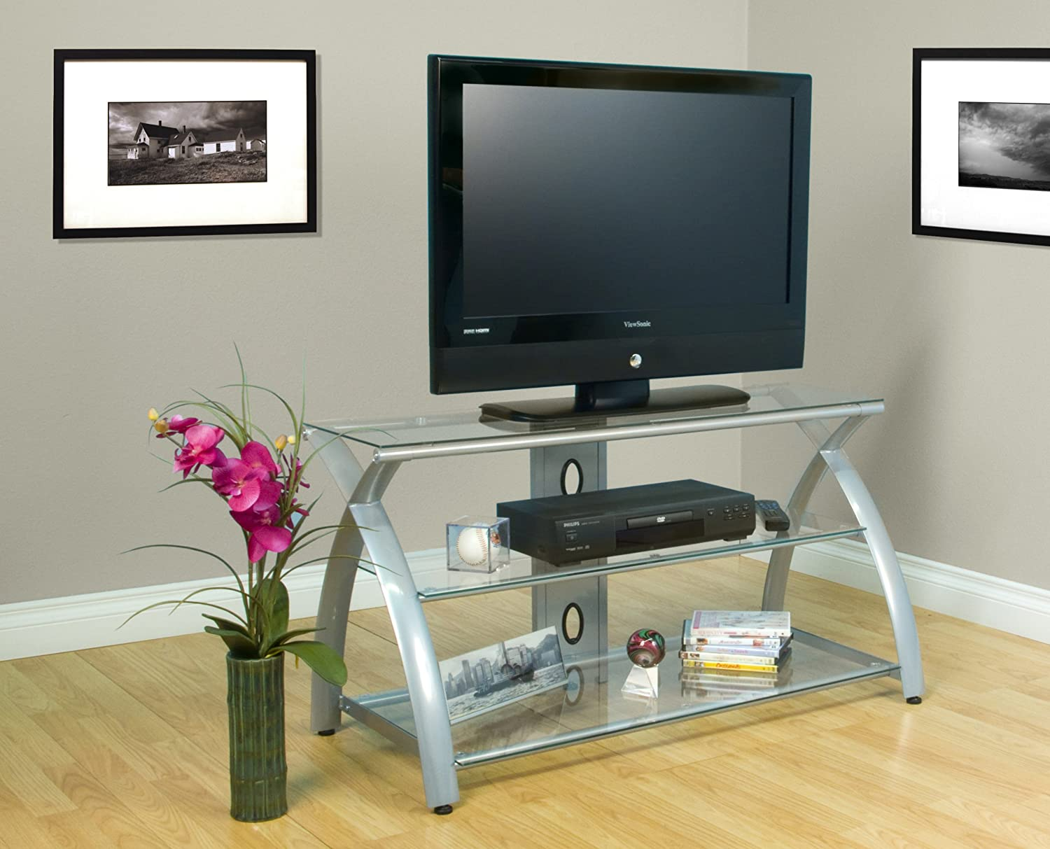 Amazon Futura TV Stand Silver Clear Arts Crafts & Sewing