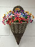 Artificial Flowers Wall Mounted Basket / Vibrant, Mini Daisy Multicoloured, Basket and Bark
