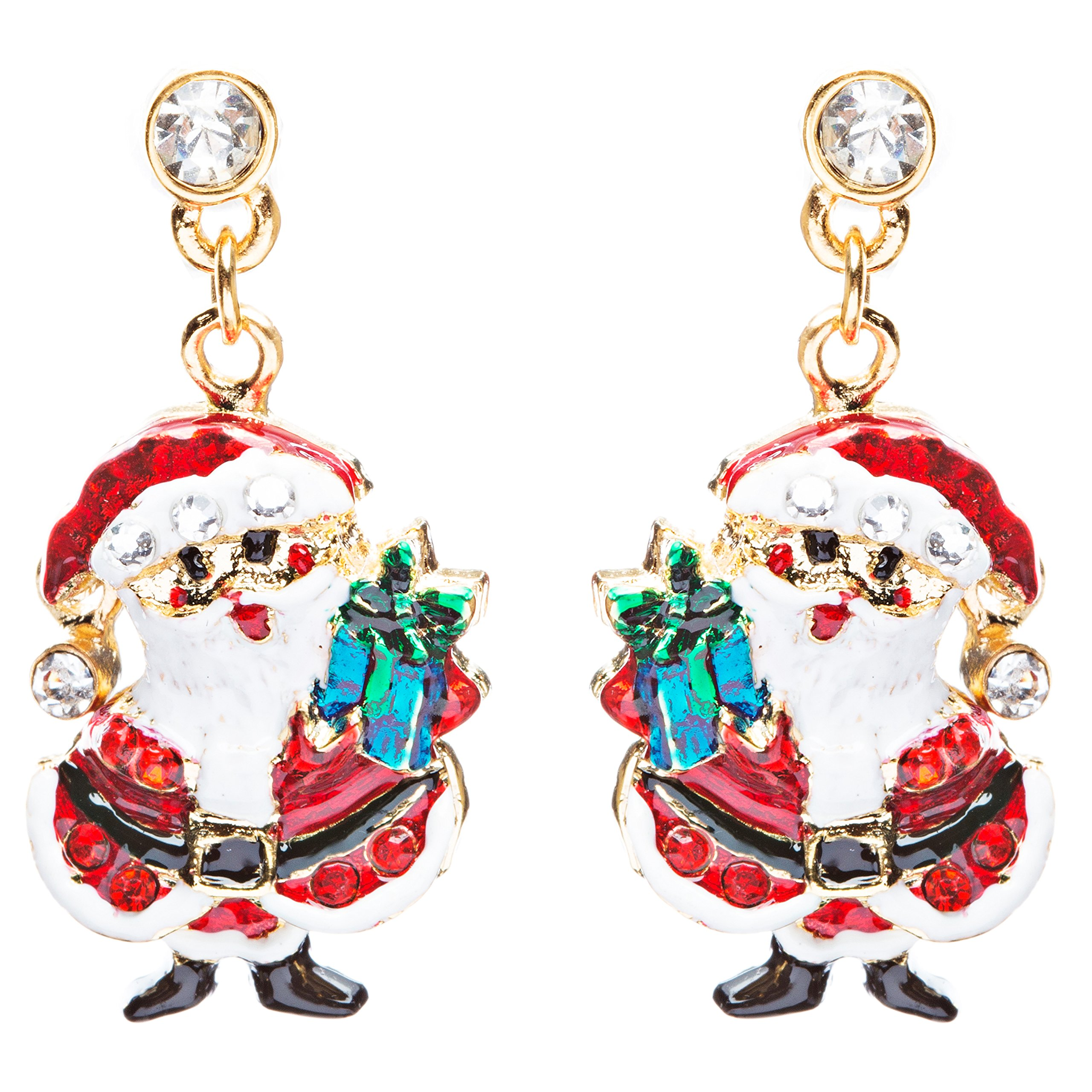 ACCESSORIESFOREVER Women Christmas Jewelry Crystal Rhinestone Santa Claus Present Dangle Earrings E877