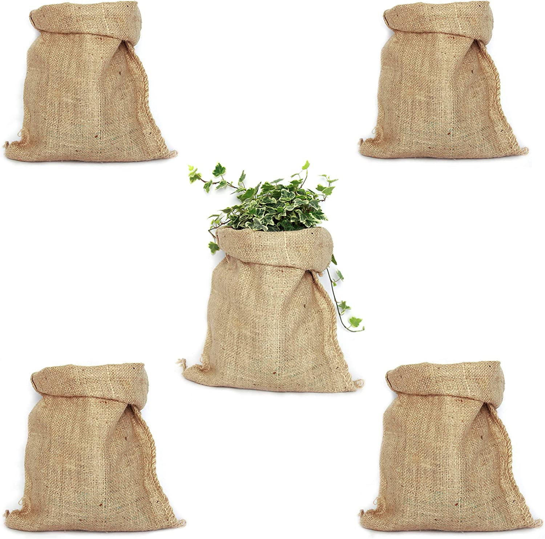 TBG Pack 5 Sacos de Yute 100% Natural. Bolsas Ecológicas Ideales para Decoración de Cocina, Jardín, Fiestas Vintage y Huerto Urbano. Organizador Rústico para Verduras y Plantas (26x48cm)