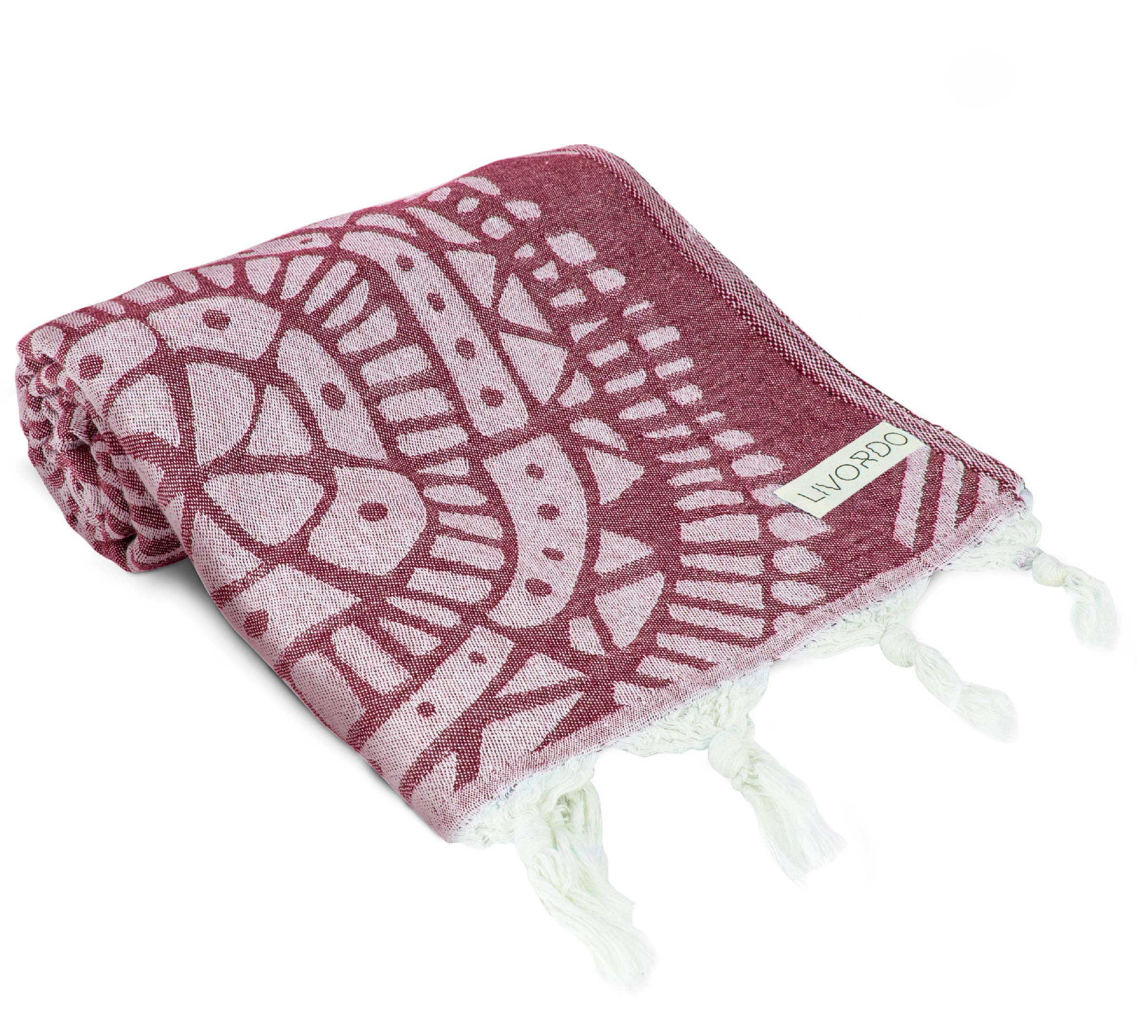 Livordo Turkish Beach Towel Soft, Absorbent 100% Cotton Made in Turkey Quick Dry Lightweight Bath Sheet, Sarong, Pareo, Wrap, Pestemal, Scarf, Spa, Yoga, Gym, Hiking, Camping (Burgundy)