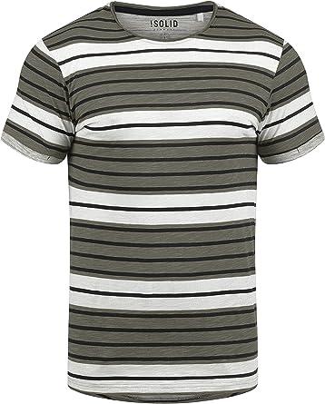 Solid Sergej Camiseta De Rayas Básica De Manga Corta para Hombre con Cuello Redondo De 100% algodón: Amazon.es: Ropa y accesorios