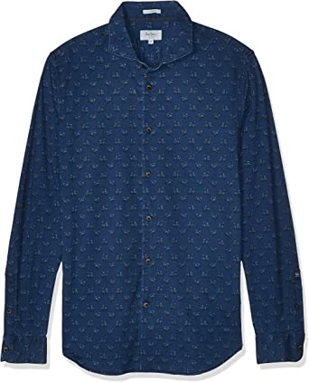 Pepe Jeans Camisa Azul Estampada para Hombre