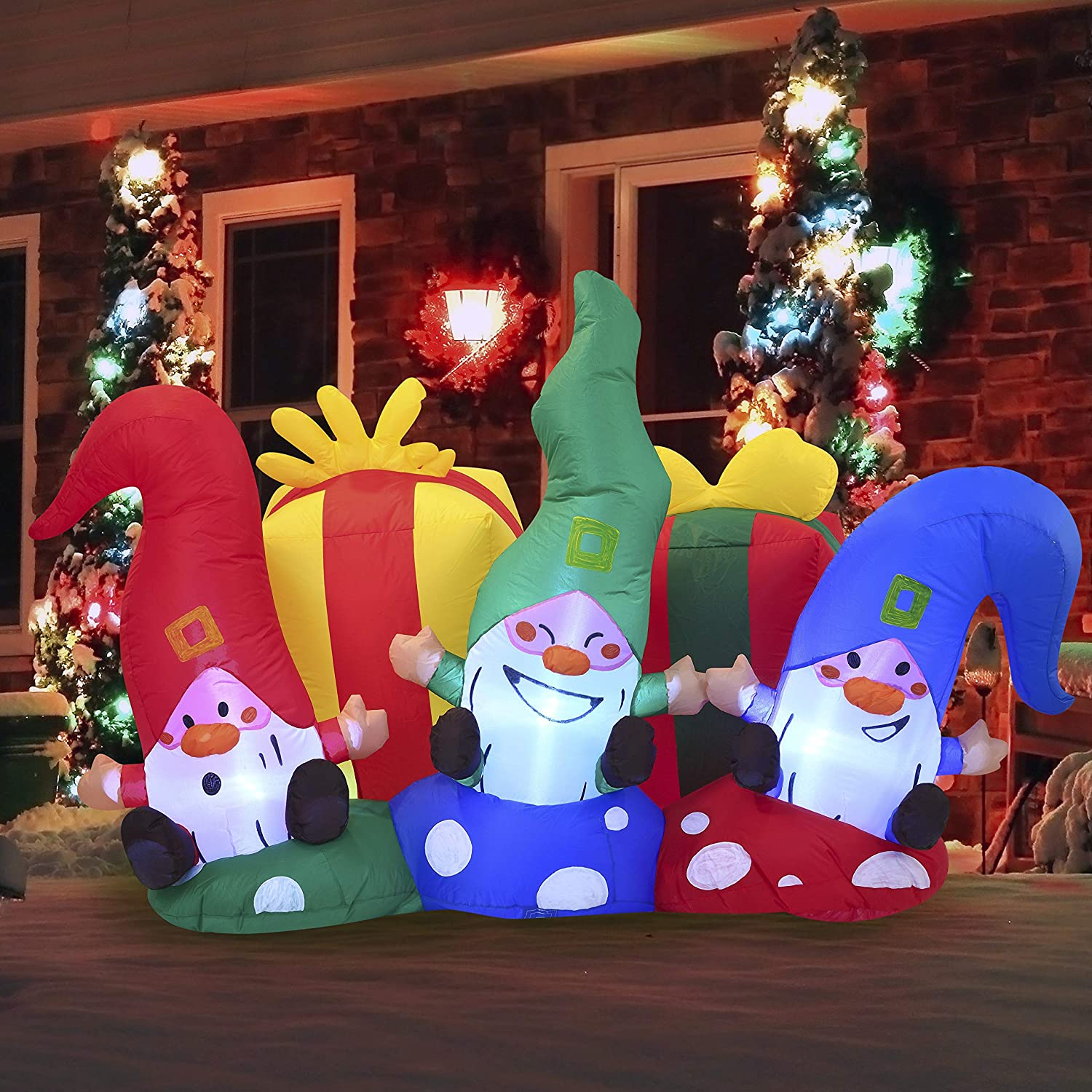 Joiedomi Christmas Inflatable Decoration 6ft Christmas Three Happy Gnomes Inflatable with Build-in LEDs Blow Up Inflatables for Xmas Party Indoor, Outdoor, Yard, Garden, Lawn, Winter Decor