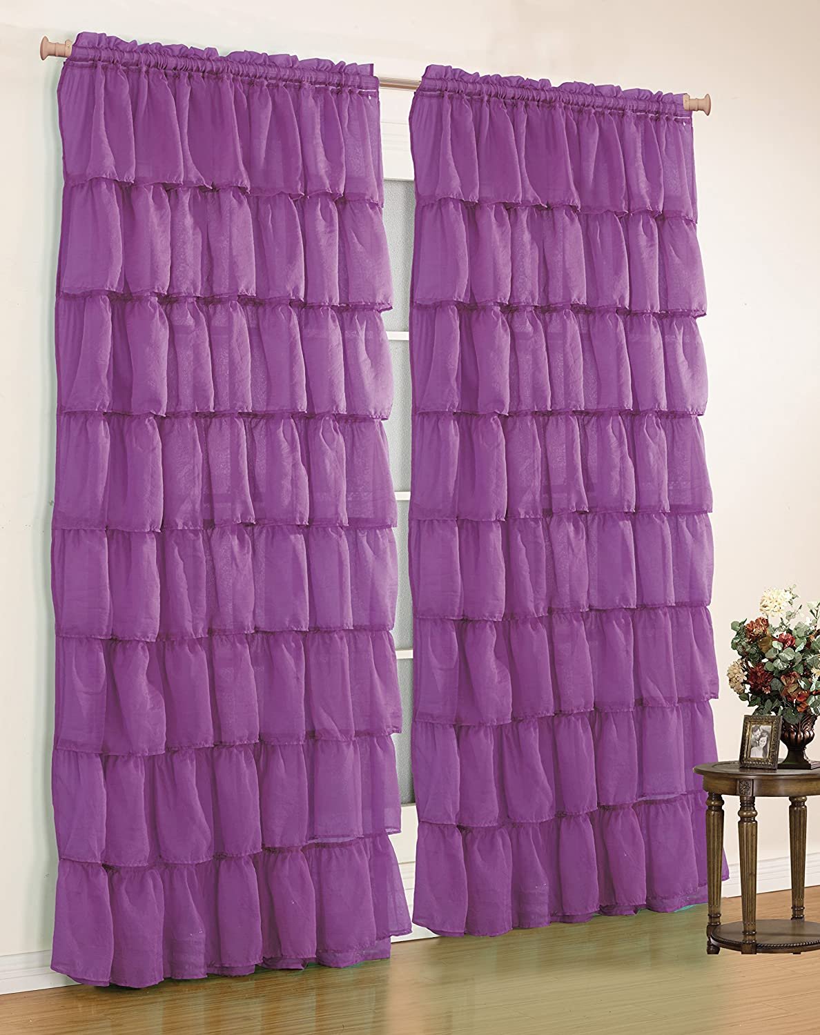 "Mk Collection Gypsy Crushed Ruffle Sheer Curtains - 55"" Width by 84"" Inch Length (Purple)"