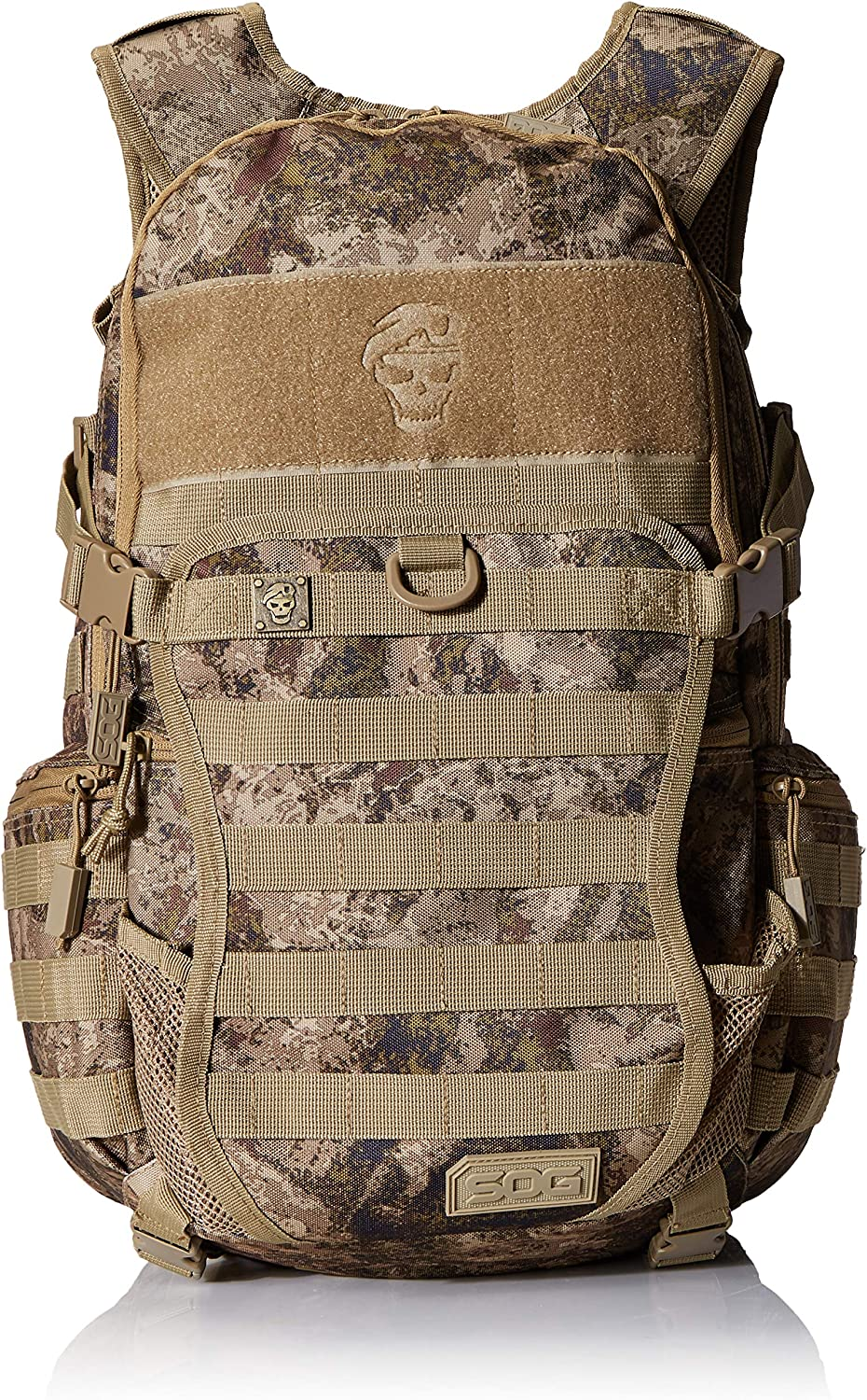 SOG Opord Tactical Day Pack, 39.1-Liter Storage bag, brown color with velcro patch holder on front.